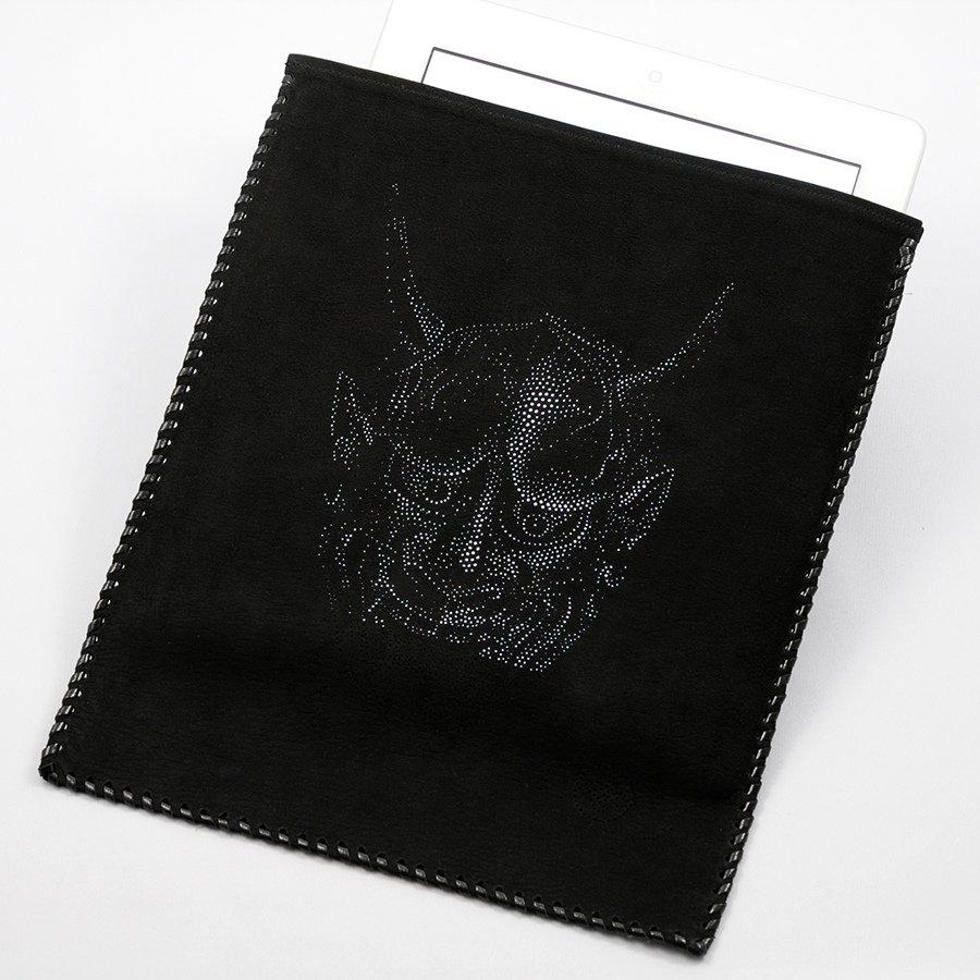 【西村友禅彫刻店】iPadケース(色:黒/柄:般若)