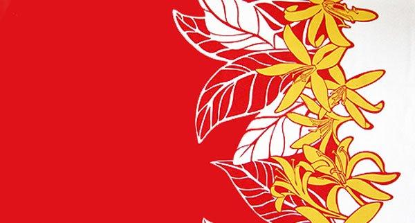 【送料無料】ハワイアンプリントファブリック ハギレ レッド・ホワイト・イエロー  約110cm×生地幅約110cm