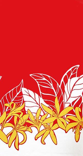 【送料無料】ハワイアンプリントファブリック ハギレ レッド・ホワイト・イエロー  約110cm×生地幅約110cm 【画像2】