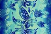 【送料無料】ハワイアンプリントファブリック ハギレ iブルー  約180cm×生地幅約110cm