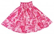 パウ ホワイト PAU-91-2 ハワイアンファブリック パウスカート ホワイト ピンク