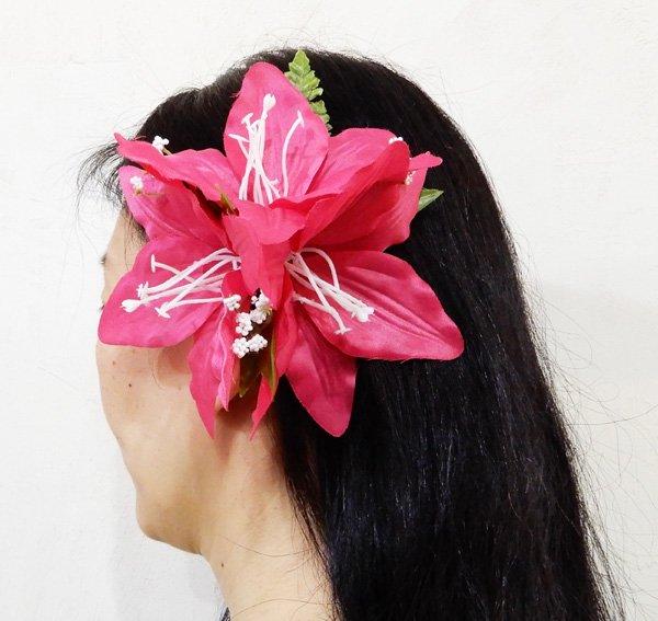 アレンジ ヘアクリップ リリー ピンク【画像2】
