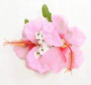 ヘアクリップ(髪飾り) ダブルスモールハイビスカスクリップ ライトピンク