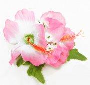 ヘアクリップ(髪飾り) ダブルスモールハイビスカスクリップ ホワイトピンク