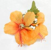 フラダンス用品 色で選びたい ダブルスモールハイビスカスクリップ オレンジイエロー