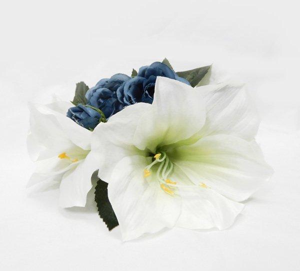 アレンジ ヘアクリップ KC-031  ローズ アマリリス 色:ブルー ホワイト 【画像2】