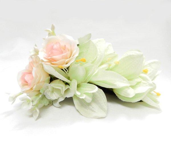 アレンジ ヘアクリップ KC-032  ローズ 色:イエロー ライトピンク グリーンホワイト 【画像2】