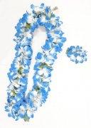 セット(レイ+ヘッドバンド、レイ+ヘアクリップetc.) Eプルメリアレイ+Eプルメリアヘアクリップセット ブルー 青