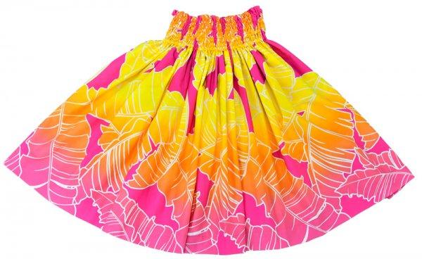 【送料無料】お仕立て上がり現品 丈70cm ハワイアンファブリック パウスカート ピンク・イエロー バナナリーフ柄