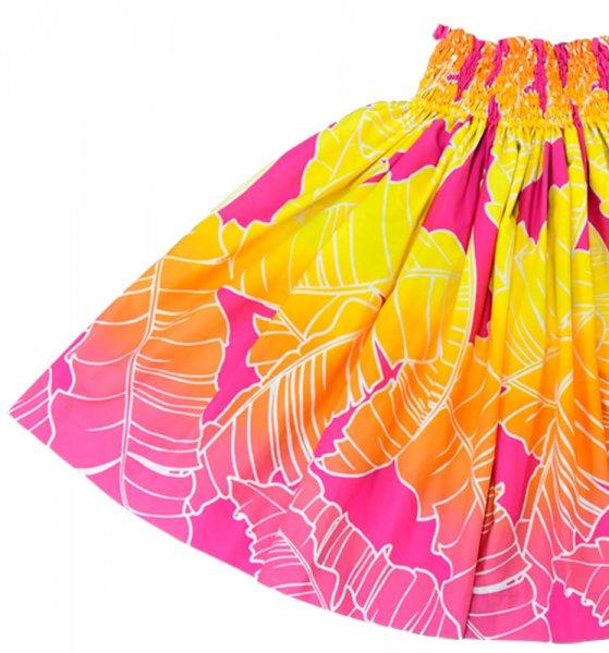【送料無料】お仕立て上がり現品 丈70cm ハワイアンファブリック パウスカート ピンク・イエロー バナナリーフ柄 【画像2】