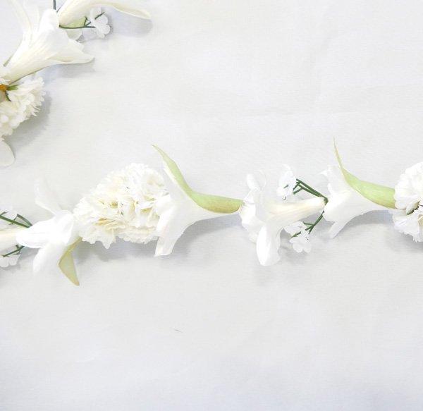 チューブローズカーネーションレイ ホワイト 白【画像2】