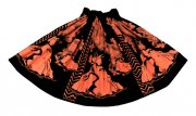 パウスカート TUTUVIパウ(柄:ボルケーノフォグ�/色:ブラック・レディッシュオレンジ)