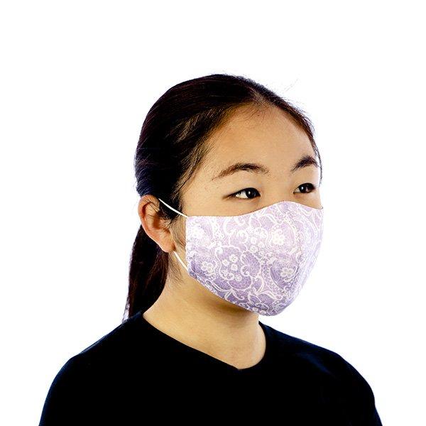 マスク 布製 送料無料 レースプリント ラベンダー【画像5】