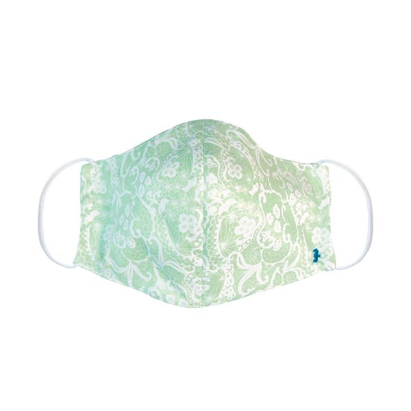 マスク 布製 送料無料 レースプリント ペパーミントグリーン