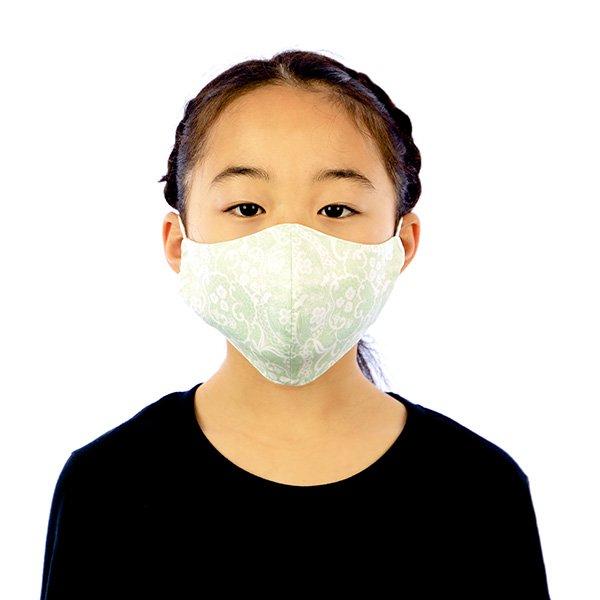 マスク 布製 送料無料 レースプリント ペパーミントグリーン【画像4】