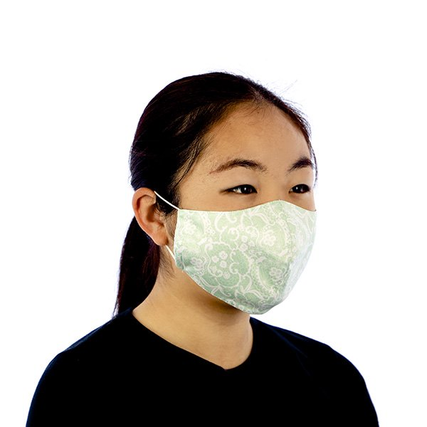 マスク 布製 送料無料 レースプリント ペパーミントグリーン【画像5】