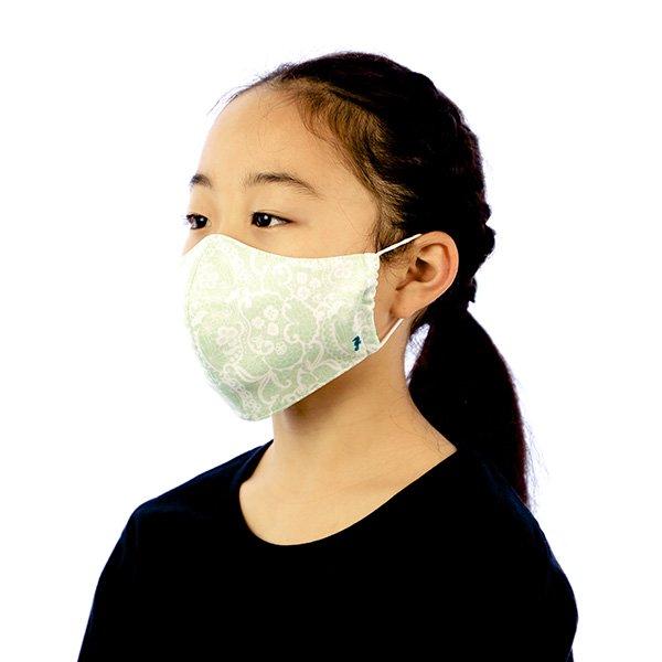 マスク 布製 送料無料 レースプリント ペパーミントグリーン【画像6】
