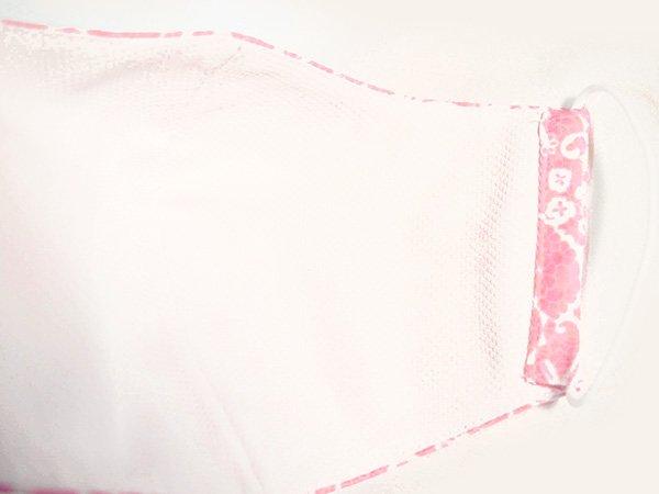 マスク 布製 送料無料 レースプリント ピンク【画像3】