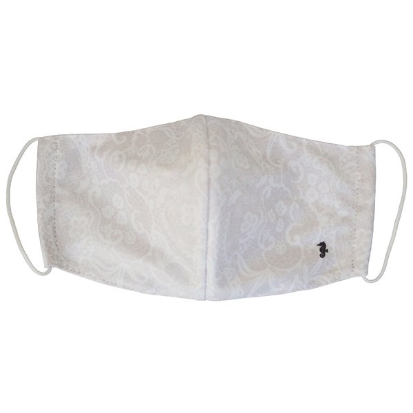 マスク 布製 送料無料 レースプリント ライトグレー