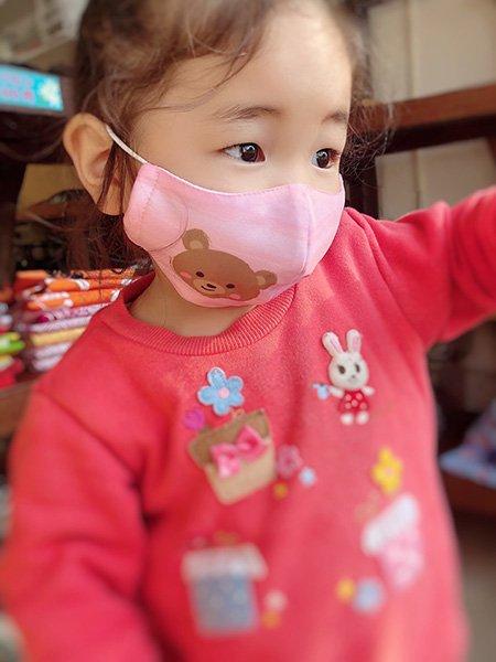 子供マスク 布製 送料無料 くま イエロー 【画像6】