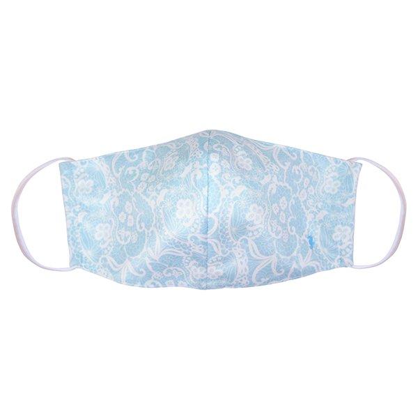マスク 布製 送料無料 レースプリント ベビーブルー