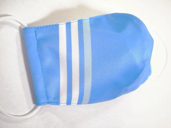 マスク 布製 送料無料 ライン ブルー【画像2】