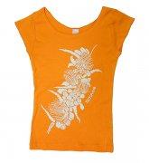 TUTUVI TUTUVI Tシャツ(柄:ハクレイ 色:オレンジ・アイボリー)