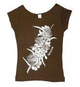 Tシャツ TUTUVI Tシャツ(柄:ハクレイ 色:ブラウン・アイボリー)