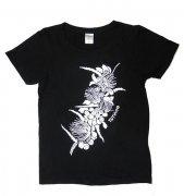 TUTUVI TUTUVI Tシャツ(柄:ハクレイ 色:ブラック・アイボリー)