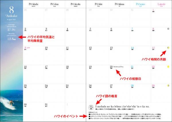 2021 ハワイ手帳 ミニサイズ TUTUVIバージョン レフアタパ レッド(リバーシブル表紙 ファーン)【画像4】