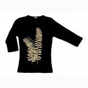 Tシャツ TUTUVI 七分袖Tシャツ(柄:ファーン 色:ブラック・ベージュ)