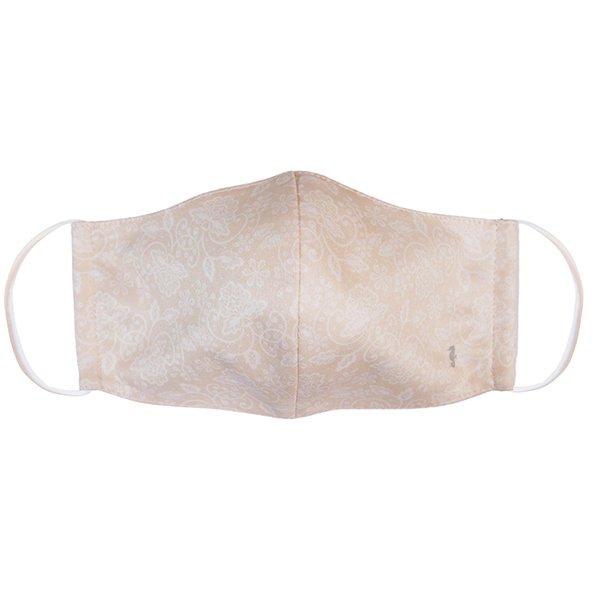 マスク 布製 送料無料 レースプリント ベージュ