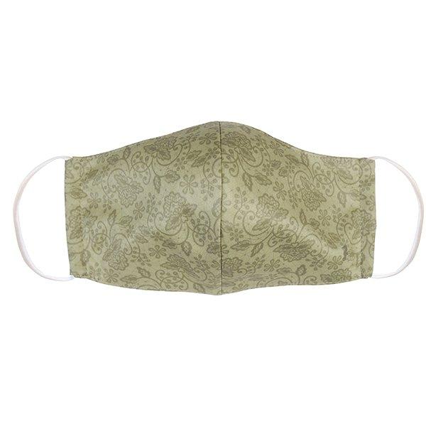 マスク 布製 送料無料 レースプリント カーキ