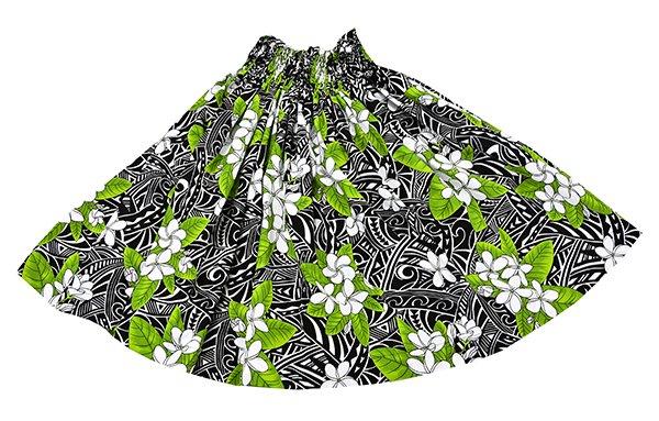ハワイアンファブリック パウスカート ブラック グリーン