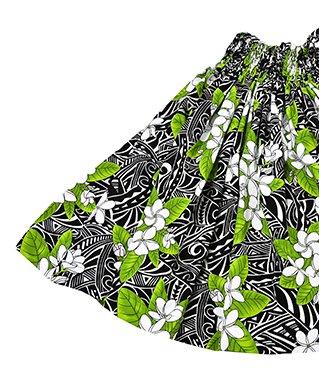 ハワイアンファブリック パウスカート ブラック グリーン【画像2】