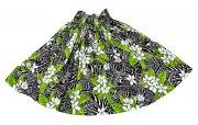 スカート ハワイアンファブリック パウスカート ブラック グリーン