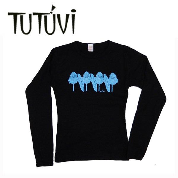 TUTUVI 長袖Tシャツ(柄:トーチジンジャー 色:ブラック・ブルー)【画像3】