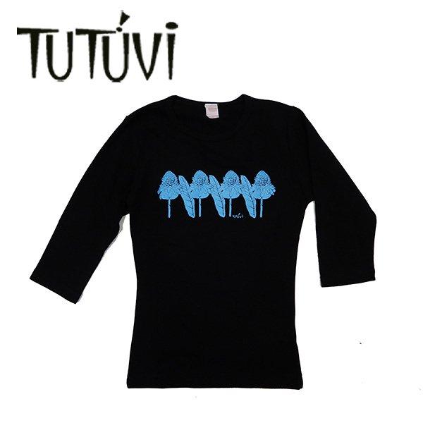 TUTUVI 七分袖Tシャツ(柄:トーチジンジャー 色:ブラック・ブルー)【画像3】