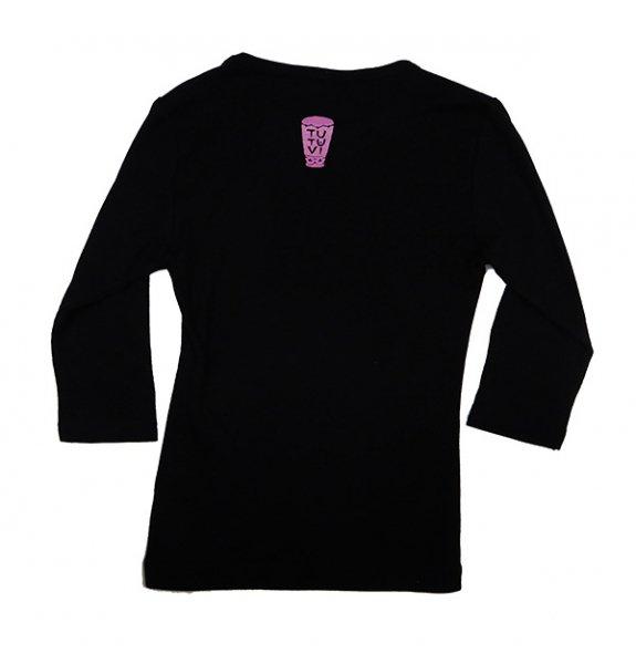TUTUVI 七分袖Tシャツ(柄:トーチジンジャー 色:ブラック・ピンク)【画像2】