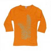 オレンジ TUTUVI 七分袖Tシャツ(柄:ファーン 色:マンダリンオレンジ・ベージュ)