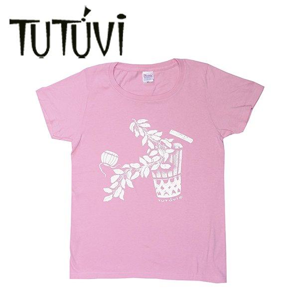 TUTUVI Tシャツ(柄:サウンドアンドヴィジョン 色:ピーチ・アイボリー)【画像3】