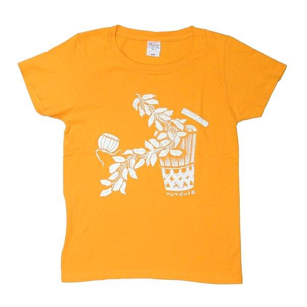 TUTUVI Tシャツ(柄:サウンドアンドヴィジョン 色:ゴールドイエロー・アイボリー)