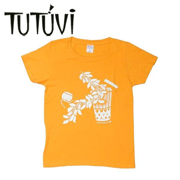 TUTUVI Tシャツ(柄:サウンドアンドヴィジョン 色:ゴールドイエロー・アイボリー)【画像2】