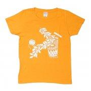 オレンジ TUTUVI Tシャツ(柄:サウンドアンドヴィジョン 色:ゴールドイエロー・アイボリー)