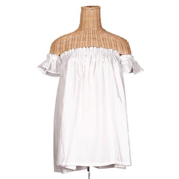 チューブトップブラウス離れ袖付き 白 綿ポリ お仕立て 色変更可