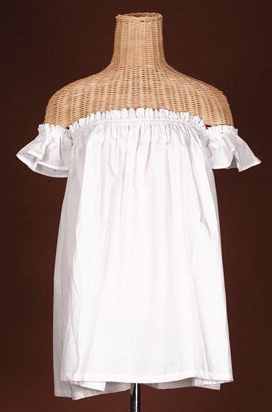 チューブトップブラウス離れ袖付き 白 綿ポリ お仕立て 色変更可 【画像2】