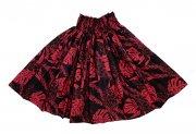 フラダンス用品 色で選びたい ハワイアンファブリック パウスカート  ブラック  レッド