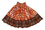 フラダンス用品 色で選びたい ハワイアンファブリック パウスカート  オレンジ ブラック
