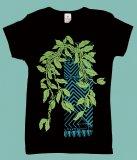ブラック(黒) TUTUVI Tシャツ(柄:マイレ 色:ブラック/グリーン・ティール)