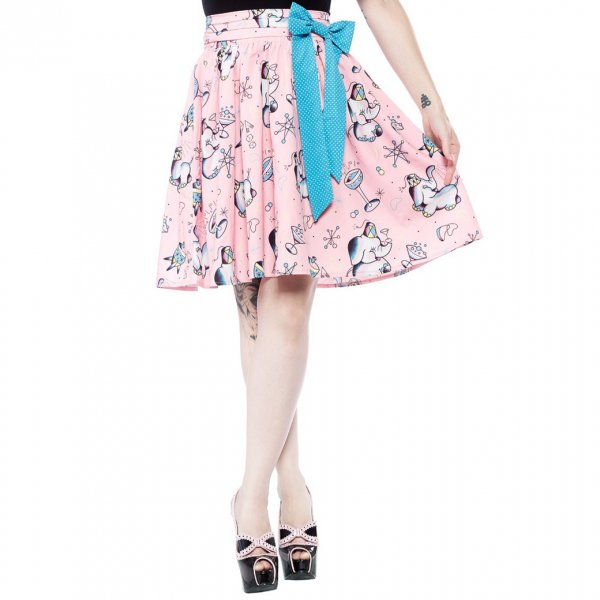 30%OFF【SOURPUSS】ELEPHANTS SWING SKIRT(サイズ:S/日本サイズ11号程度)